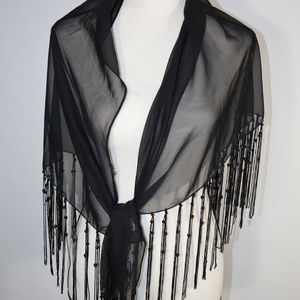 Shawl with Bling Beads and Fringe